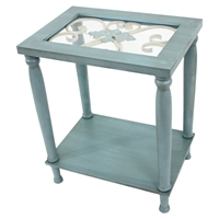 Wood End Tables - Blue, 1 Shelf