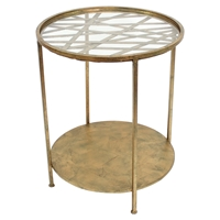 End Table - Round Glass Top, 1 Shelf