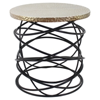 End Table - Round Top, Black Base