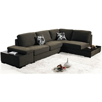 Seeley Fabric Convertible Chaise Sectional Sofa Bed