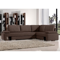 Clarice Fabric Chaise Sectional Sofa Sleeper in Brown
