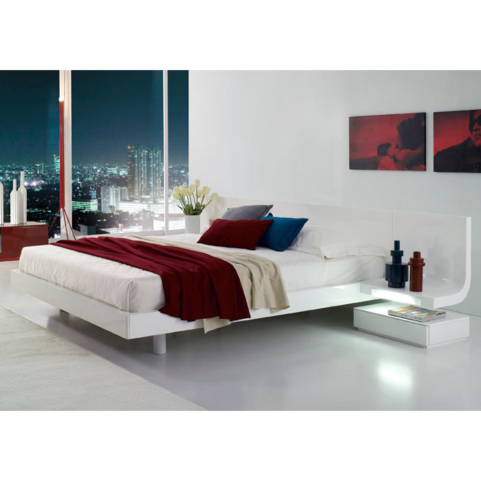 Firenze White Platform Bed with Built-In Nightstands