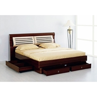 Liza Two-Toned Lacquer Storage Platform Bed