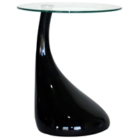 Laramie Round Glass Top End Table with Plastic Base