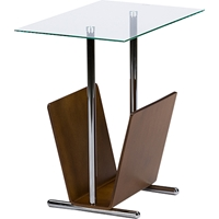 Sabata Magazine Holder End Table - Walnut, Clear