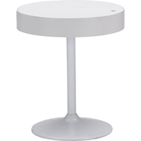 Aminta Round Bentwood Table - Storage Compartment, White