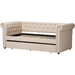 Mabelle Fabric Trundle Daybed - Button Tufted, Light Beige - WI-ASHLEY-BEIGE-DAYBED