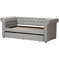 Mabelle Fabric Trundle Daybed - Button Tufted, Gray