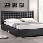 Madison Queen Platform Bed - Square Tufts, Metal Legs, Black