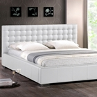 Madison Queen Platform Bed - Square Tufts, Metal Legs, White