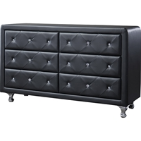 Luminescence Faux Leather Dresser - 6 Drawers, Black