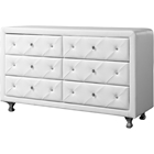 Luminescence Faux Leather Dresser - 6 Drawers, White