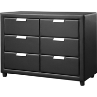 Pageant Faux Leather 6 Drawers Dresser - Black