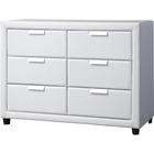 Pageant Faux Leather 6 Drawers Dresser - White