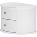 Ritchie Faux Leather Oval 2 Drawers Nightstand - White - WI-BBT3067-WHITE-NS
