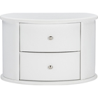 Ritchie Faux Leather Oval 2 Drawers Nightstand - White