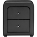 Bourbon Faux Leather Nightstand - 2 Drawers, Black - WI-BBT3074-BLACK-NS