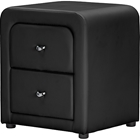 Bourbon Faux Leather Nightstand - 2 Drawers, Black