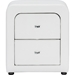 Bourbon Faux Leather Nightstand - 2 Drawers, White - WI-BBT3074-WHITE-NS