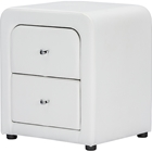 Bourbon Faux Leather Nightstand - 2 Drawers, White