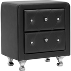 Stella 2 Drawers Nightstand - Crystal Tufted, Black
