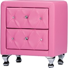 Stella 2 Drawers Nightstand - Crystal Tufted, Pink