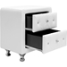 Stella 2 Drawers Nightstand - Crystal Tufted, White - WI-BBT3084-WHITE-NS
