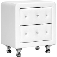 Stella 2 Drawers Nightstand - Crystal Tufted, White