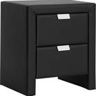Frey Faux Leather Nightstand - 2 Drawers, Black