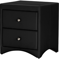 Dorian 2 Drawers Faux Leather Nightstand - Black