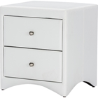 Dorian 2 Drawers Faux Leather Nightstand - White