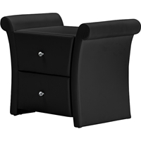 Victoria Faux Leather Nightstand - 2 Drawers, Black