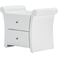 Victoria Faux Leather Nightstand - 2 Drawers, White