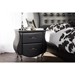 Erin Faux Leather Nightstand - 2 Drawers, Black - WI-BBT3116-BLACK-NS