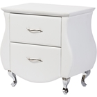 Erin Faux Leather Nightstand - 2 Drawers, White