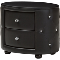 Davina 2 Drawers Faux Leather Nightstand - Black
