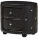 Davina 2 Drawers Faux Leather Nightstand - Black - WI-BBT3119-BLACK-NS