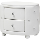 Davina 2 Drawers Faux Leather Nightstand - White