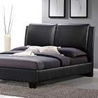 Sabrina Queen Size Platform Bed - Overstuffed Headboard, Black