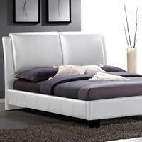 Sabrina King Size Platform Bed - Overstuffed Headboard, White