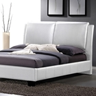 Sabrina Queen Size Platform Bed - Overstuffed Headboard, White