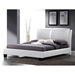 Sabrina Queen Size Platform Bed - Overstuffed Headboard, White - WI-BBT6082-WHITE-BED