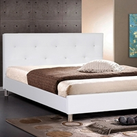 Barbara Queen Platform Bed - Crystal Tufts, Metal Legs, White