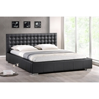 Madison Faux Leather Full Platform Bed - Tufted, Black