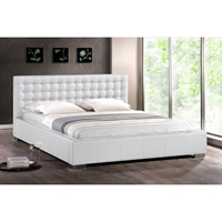 Madison Faux Leather Full Platform Bed - Tufted, White