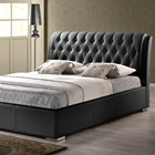 Bianca Queen Platform Bed - Diamond Tufts, Metal Legs, Black