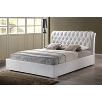 Bianca Full Platform Bed - Tufted, White