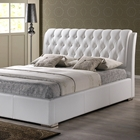 Bianca Queen Platform Bed - Diamond Tufts, Metal Legs, White