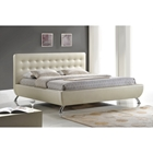 Elizabeth Pearlized Platform Bed - Button Tufted, Almond