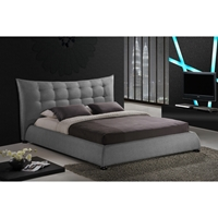 Marguerite Linen Platform Bed - Tufted, Gray